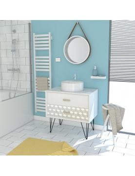 Pack scandinave avec meuble vasque ronde et miroir barbier