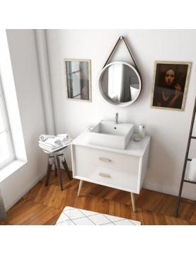 Pack scandinave avec meuble à tiroirs vasque carrée et miroir barbier