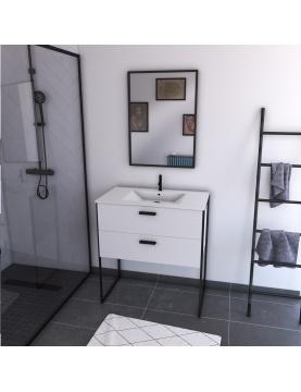 Pack salle de bain avec miroir et vasque en céramique