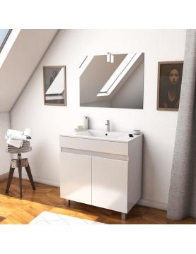 Ensemble caisson 2 portes vasque et miroir