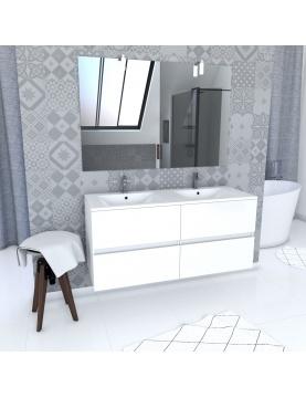 Ensemble avec caissons suspendus + miroir et vasques