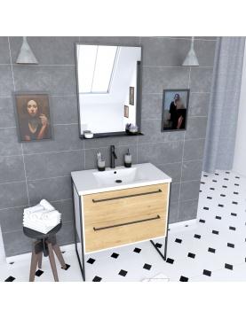 Pack meuble à 2 tiroirs vasque et miroir simple