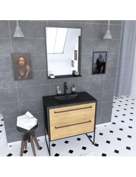 Ensemble caisson à tiroirs vasque et miroir simple
