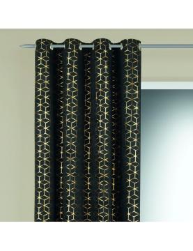 Rideau en velours motifs géométriques dorés