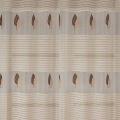 Voilage imprimé de rayures et feuilles brodées (Taupe)