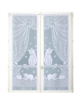 Paire de vitrages dentelle chatons et franges