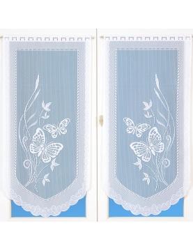Paire de vitrages en dentelle motifs papillons