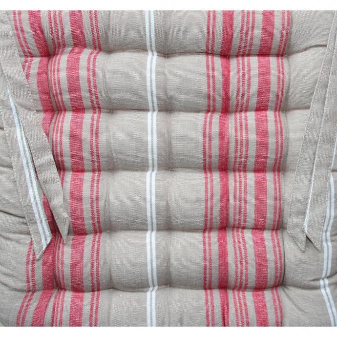 Galette de chaise carrée aux rayures d'antan (Rouge)