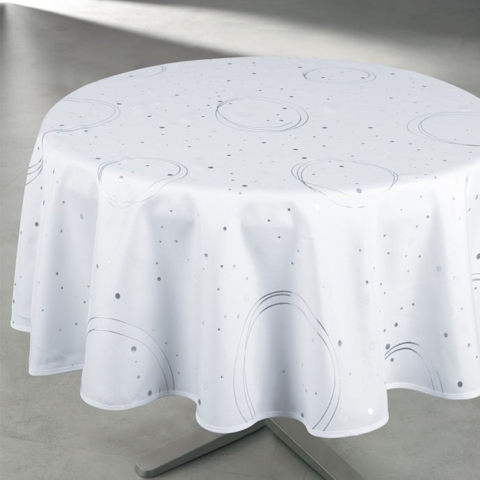 Nappe ronde enduite anti-taches  (Blanc)