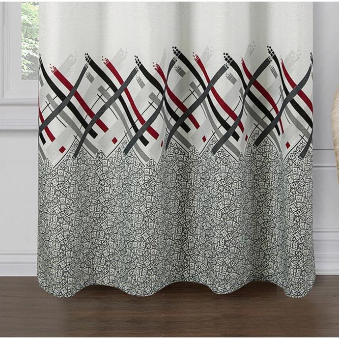 Paire de rideaux jacquard imprimés (Blanc)