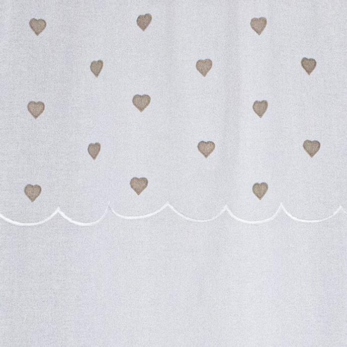 Paire de vitrages droits sablés avec top à coeurs (Beige)