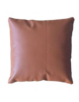 Coussin déhoussable en simili cuir et faux lin