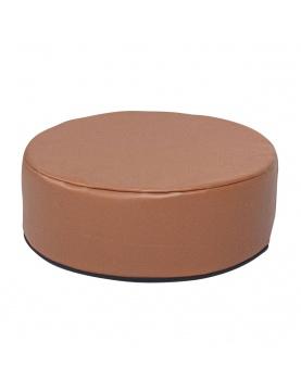 Pouf déhoussable simili cuir et faux lin
