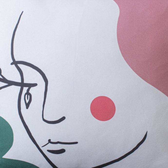 Coussin déhoussable imprimé visage (Blanc)