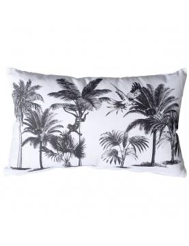 Coussin déhoussable noir et blanc imprimé palmiers