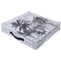 Coussin de sol noir et blanc imprimé palmiers (BLANC NOIR)