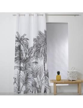 Rideau noir et blanc imprimé palmiers