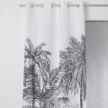 Rideau noir et blanc imprimé palmiers  (BLANC NOIR)