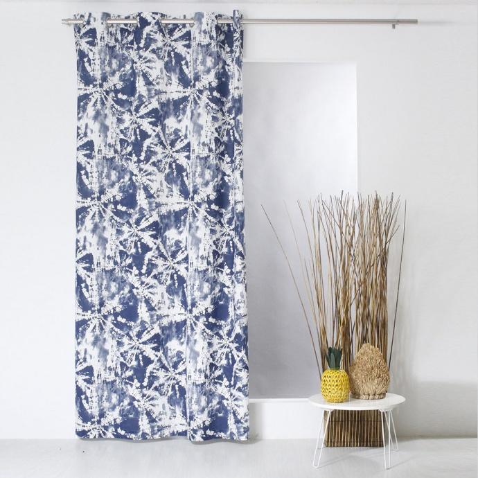 Rideau imprimé Tye & Dye (Bleu)