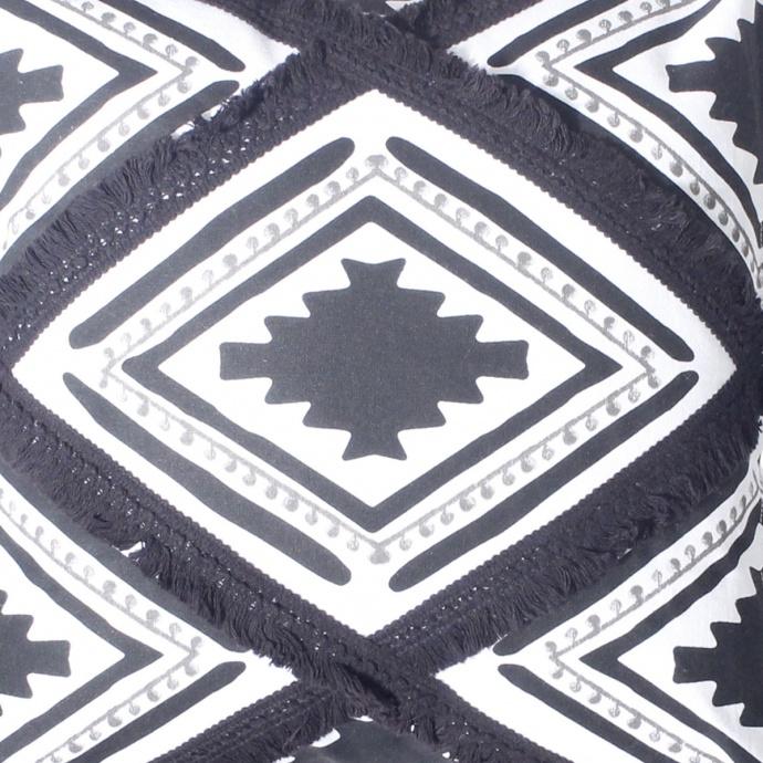 Coussin ethnique et bicolore (Noir)