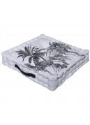Coussin de sol noir et blanc imprimé palmiers