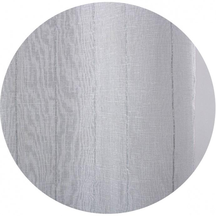 Voilage à effet lin et rayures argentées (Blanc Argent)