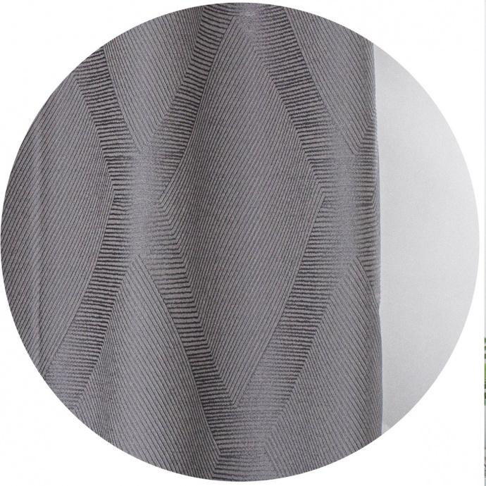 Cortina semi-opaca de Jacquard geométrica (Gris oscuro)