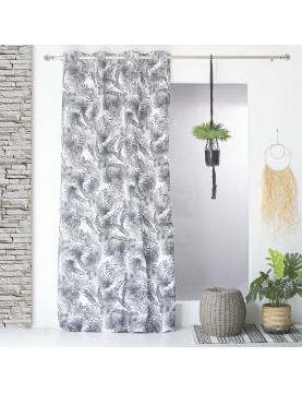 Cortina semi-opaca estampada jungla de color blanco y negro