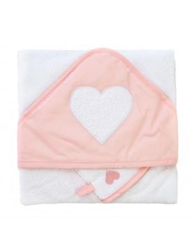 Coffret sortie de bain brodée + gant cœur
