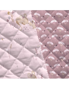 Coton matelassé souris et nature