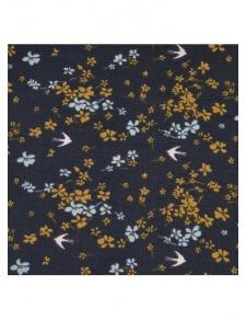Tissu imprimé hirondelles fleuries