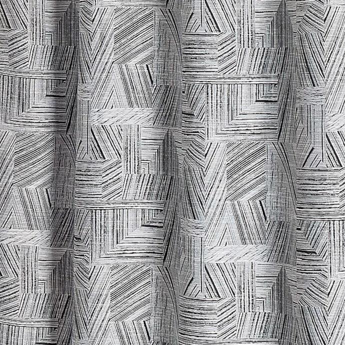 Rideau d'ameublement à jacquard géométrique noir (Noir)