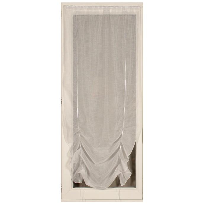 Voilage à remonter en étamine unie 90x180 cm (Blanc)