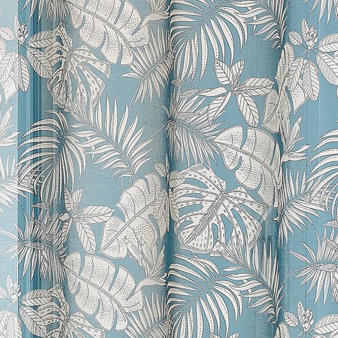 Voilage tropical en étamine imprimée  (Bleu Paon)