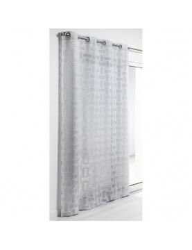 Visillo de estameña efecto lino estampado 140 x 240 cm