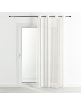 Voilage étamine rayures verticales fils brillants 140x260 cm