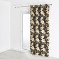 Rideau jacquard motif végétal grosses fleurs 140x260 cm (Noir)