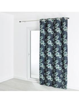 Rideau jacquard motif végétal grosses fleurs 140x260 cm
