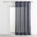 Voilage en étamine avec des rayures verticales colorés 140x260 cm (Bleu cobalt)