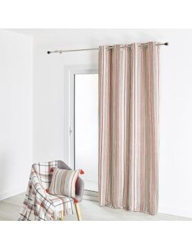 Rideau d'ameublement en coton grosse toile rayures verticales 135x260 cm