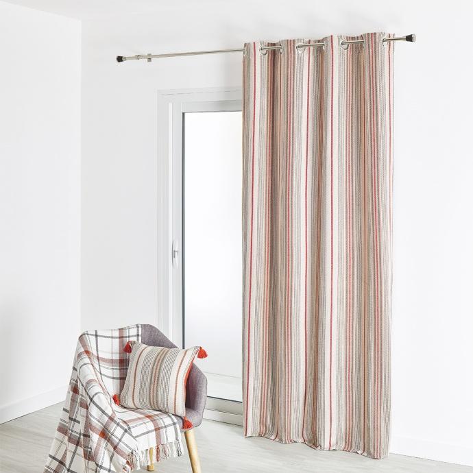 Cortina de mobiliario de algodón tela grande a rayas verticales 135 x 260 cm
