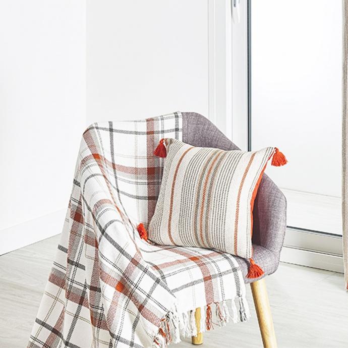 Plaid ameublement coton motif écossais coloris terracotta 125x180 cm (Terracotta)