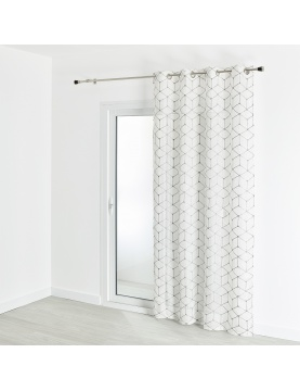 Voilage étamine imprimé et brodé motif contemporain 140x240 cm