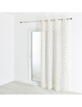 Visillo estameña estampado y bordado motivo contemporáneo 140 x 240 cm