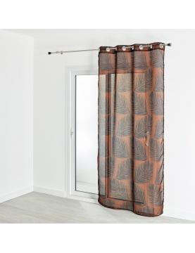 Voilage étamine imprimé motif végétal 130x240 cm