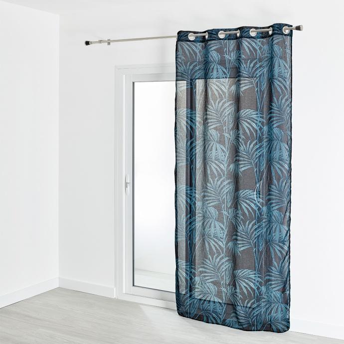 Voilage étamine imprimé motif végétal  130x240 cm (Bleu)