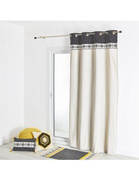 Rideau d'ameublement coton avec parement à motif 135x260 cm