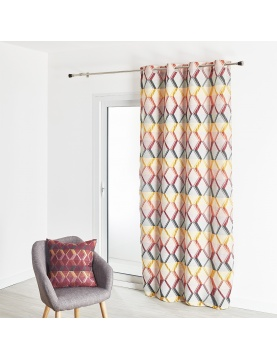 Rideau ameublement jacquard motif losange 135x260 cm