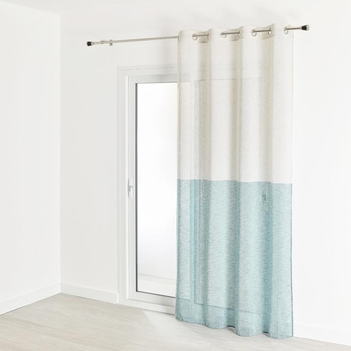 Voilage en étamine effet lin bi-couleurs 140x240 cm (Bleu Paon)