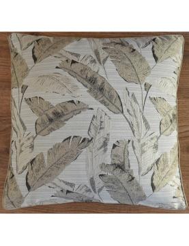 Housse de coussin jacquard motif végétal 45x45 cm